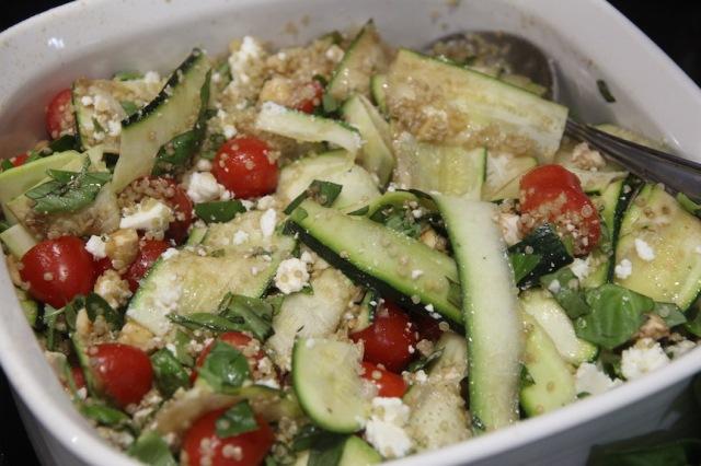 Quinoa, zucchini and feta salad